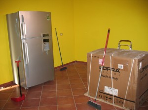 my new fridge and oven, waiting forlornly